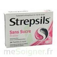 STREPSILS FRAISE SANS SUCRE, pastille édulcorée à l'isomalt, au maltitol et à la saccharine sodique à Saint-Pierre-des-Corps